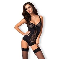 Zachwycający gorset - obsessive heartina corset  thong black sm