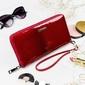 Skórzany portfel damski czerwony lorenti 76119 - czerwony