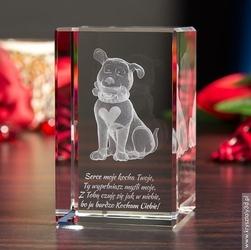 Zakochany szczeniak 3d • personalizowany kryształ 3d średni • grawer 3d