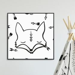 Foxy arrows - plakat dla dzieci , wymiary - 30cm x 30cm, kolor ramki - biały