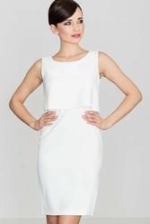 Elegancka ecru sukienka na szerokich ramiączkach