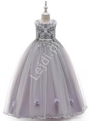 Szara długa sukienka dla nastolatki na bal, wesele 212
