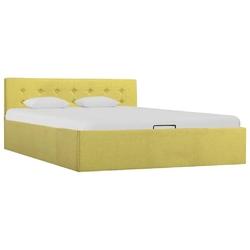 Vidaxl rama łóżka z podnośnikiem, limonkowa, tkanina, 140 x 200 cm