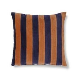 Hk living :: poduszka velvet w paski niebieskipomarańczowy 50x50