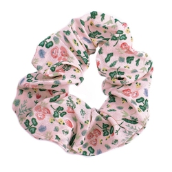 Gumka do włosów różowa scrunchies kwiaty frotka