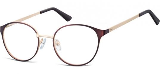 Oprawki okularowe kocie oczy damskie stalowe Sunoptic 941B brązowo-złote