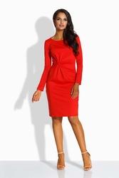 Czerwona Elegancka Dopasowana Sukienka z Ozdobnym Węzłem
