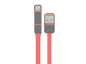 Płaski kabel USB-microUSB-Lightning Różowy - Różowy