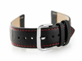 Pasek skórzany do zegarka W30 - w pudełku - czarnyczerwone - 24mm