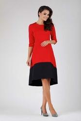 Asymetryczna Sukienka Midi Czerwono-Czarna