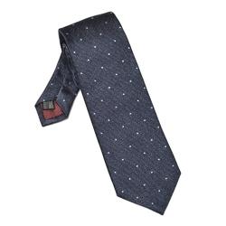 Elegancki granatowy krawat VAN THORN w błękitne kropki
