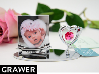 Ramka zdjęcie SERCE Swarovski GRAWER chrzest roczek WALENTYNKI