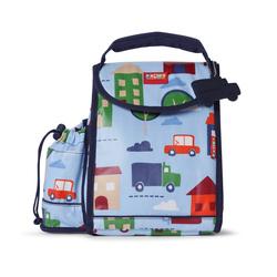 Plecak lunchbox z osobną kieszonką na picie błękitny w autka Penny Scallan