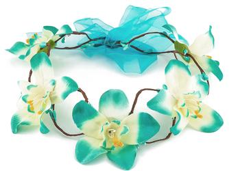 WIANEK opaska KWIATY orchidea. ŚLUB. niebieski - NIEBIESKA