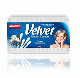 Velvet Natural Comfort, patyczki higieniczne do uszu, pudełko 200 sztuk