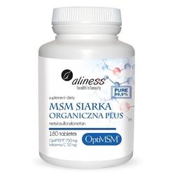 MSM Siarka Organiczna Plus, OptiMSM® 750 mg Witamina C 50 mg, 180 tabletek