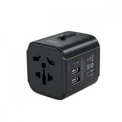 AUKEY Uniwersalny podróżny adapter sieciowy PA-TA01, 2xUSB+1xUSB C, 7.8A, czarny, pasuje w 150 krajach