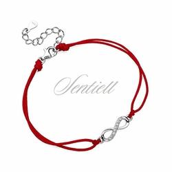 Srebrna pr.925 bransoletka z czerwonym sznurkiem - nieskończoność z cyrkoniami