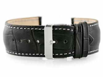 Pasek skórzany do zegarka W64 - czarnybiały 24mm