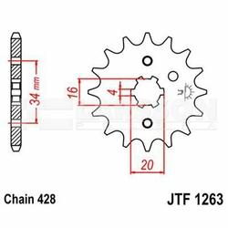 Zębatka przednia JT F1263-15, 15Z, rozmiar 428 2201317 Yamaha RD 200