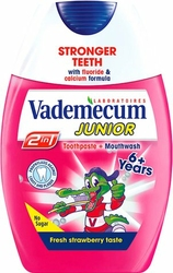 Vademecum 2w1 Junior, Truskawkowa pasta do zębów i płyn do płukania ust dla dzieci, 75 ml, 6-12 lat