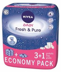 Nivea Baby Pure  Fresh, chusteczki nawilżane dla dzieci, 4 x 63 sztuki