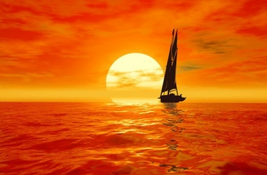 Jacht, zachód słońca - fototapeta