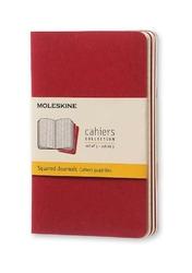 Zeszyty Moleskine Cahier 3 szt. P w kratkę bordowe