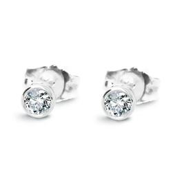 Staviori Kolczyki. 2 Diamenty, szlif brylantowy. Białe Złoto 0,585.