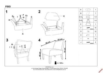 Tapicerowany fotel na drewnianych nóżkach fido