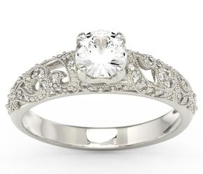Pierścionek zaręczynowy z białego złota z zirconem i aureolą z cyrkonii bp-50b-c - białe  zirkon starlit