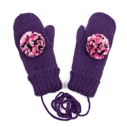Rękawiczki z POMPONEM damskie fioletowe - VIOLET