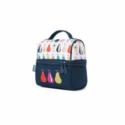 Lunchbox z zamkiem na środku, Gruszki, biało-granatowy, Penny Scallan