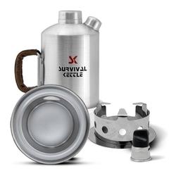 Aluminiowa kuchenka czajnik turystyczny survival kettle srebrna - zestaw ze stalowym paleniskiem