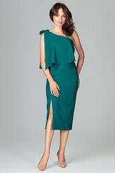 Sukienka na jedno ramię zielona koktajlowa