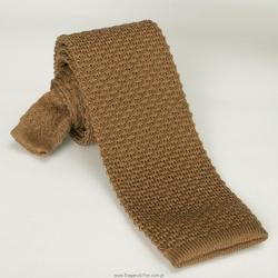 Beżowy wełniany krawat z dzianiny  knit