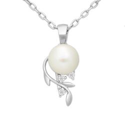 Srebrny wisiorek listek z perłą cyrkonią