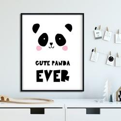 Cute panda ever - plakat dla dzieci , wymiary - 30cm x 40cm, kolor ramki - biały