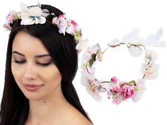 Wianek na głowę boho kwiaty pudrowy ślubny opaska