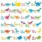 Naklejki alfabet literki dinozaury