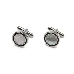 Eleganckie spinki do mankietów  w kolorze srebrnym z masą perłową i czarną obwódką