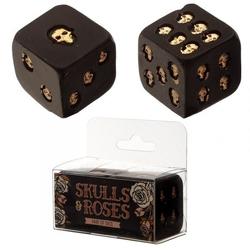 Czarne kości do gry w złote czaszki - komplet 2 szt.