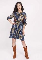Sukienka Granatowa Zapinana na Zatrzaski w Tropikalne Liście