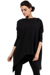 Czarna asymetryczna luźna bluza z kapturem