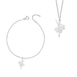 komplet biżuterii baletnica rodowane srebro 925