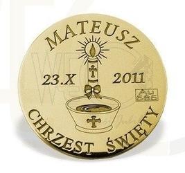 Grosz na szczęście ze złota d-3z doskonały prezent na chrzest