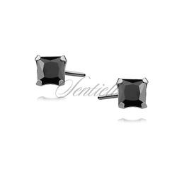 Srebrne kolczyki pr.925 cyrkonia czarna 4 x 4mm kwadratowe