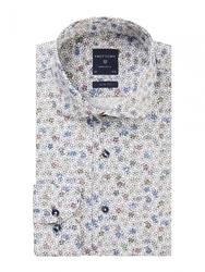 Męska biała koszula w kwiecisty wzór popelina 44