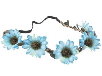 Wianek kwiaty opaska na włosy. błękitny niebieski