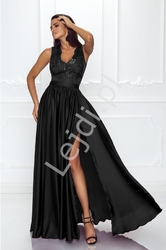 Czarna sukienka wieczorowa z cekinami i koronką- juliette 2